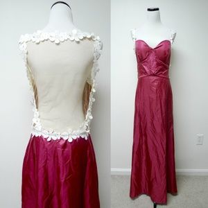 Dresses & Skirts - burgundy sexy mesh back long dress / gown . large